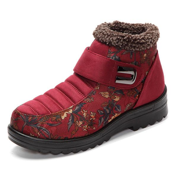 06a82067adf Floral Magic Stick Artificial Suede Faux Fur Lining Warm Ankle Snow Boots -  US 29.99