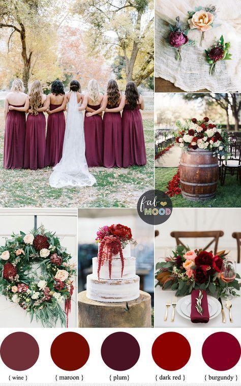 Burgundy Wedding Theme Autumn Shades Of Maroon Plum Wine