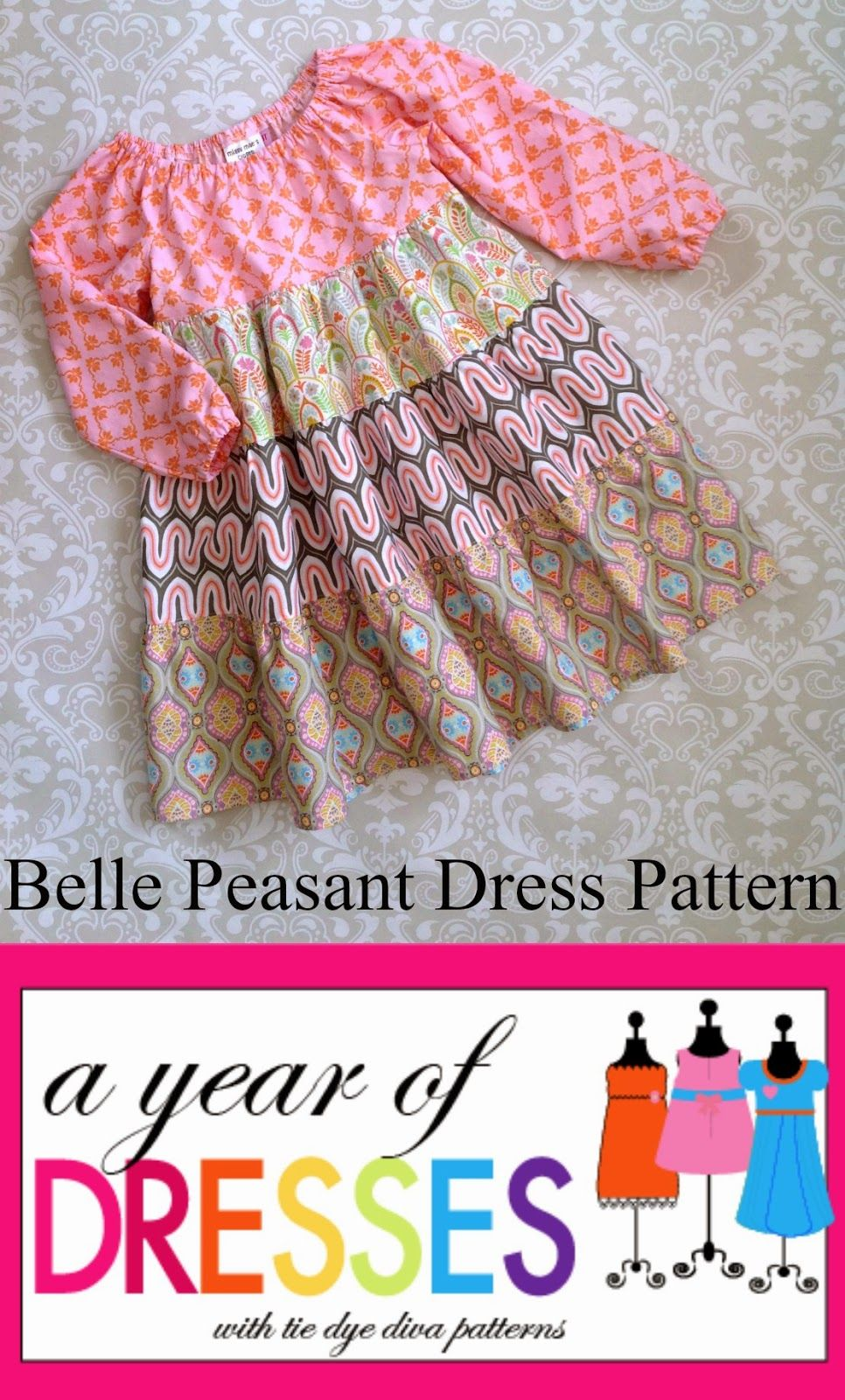 FREE Doll Dress Pattern - Riley Blake Flit & Bloom Blog Tour - Tie Dye Diva Patterns Blog #dolldresspatterns