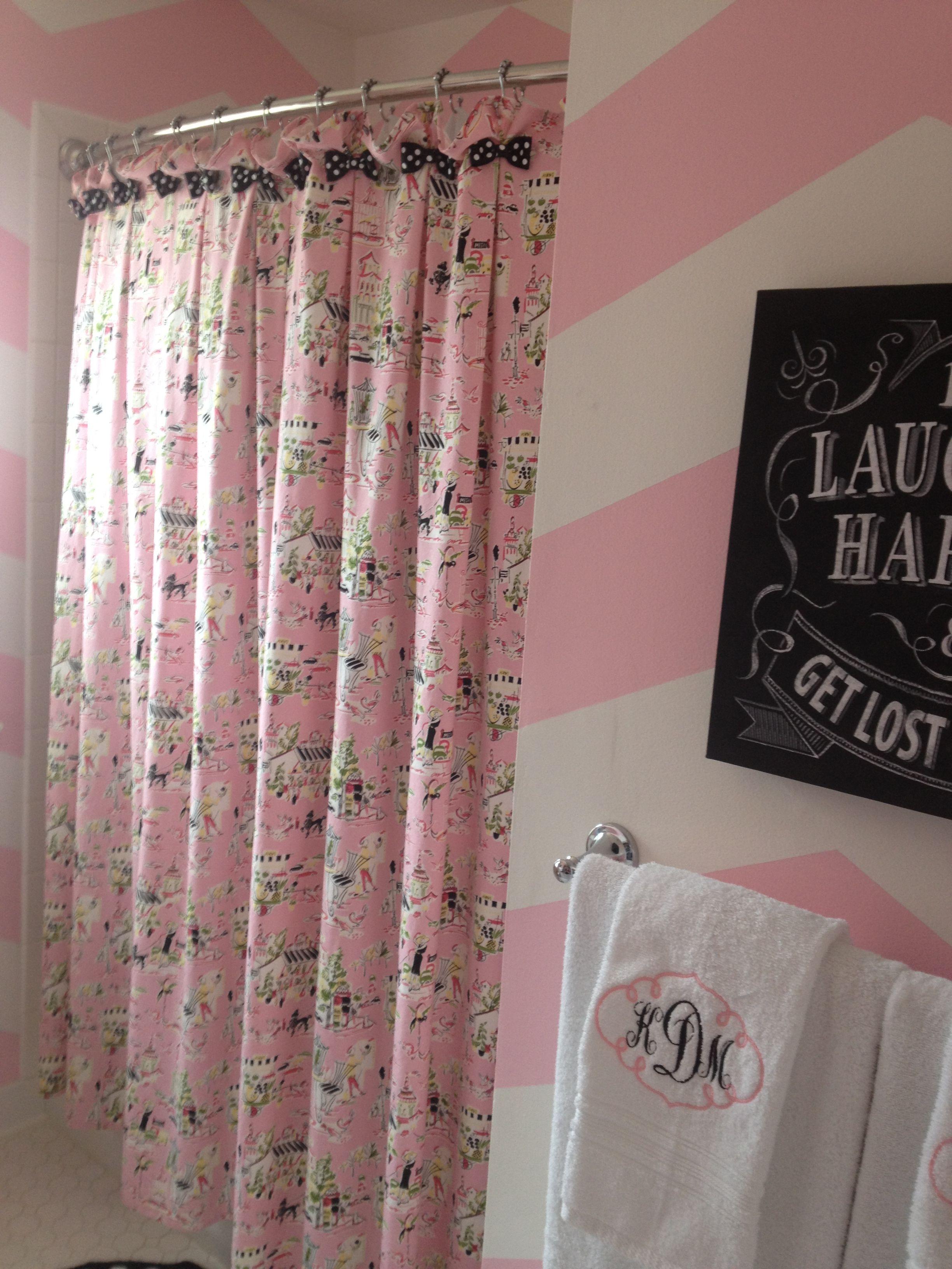 Paris Toile Theme Shower Curtain