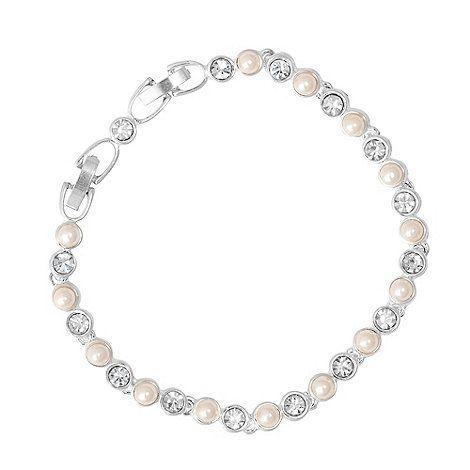 Jon Richard Silver Crystal And Pearl Tennis Bracelet