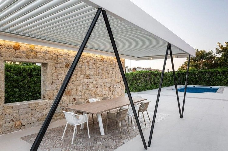 moderne gartenlaube pergola lamellen verstellbar stahlprofilen garden modern house