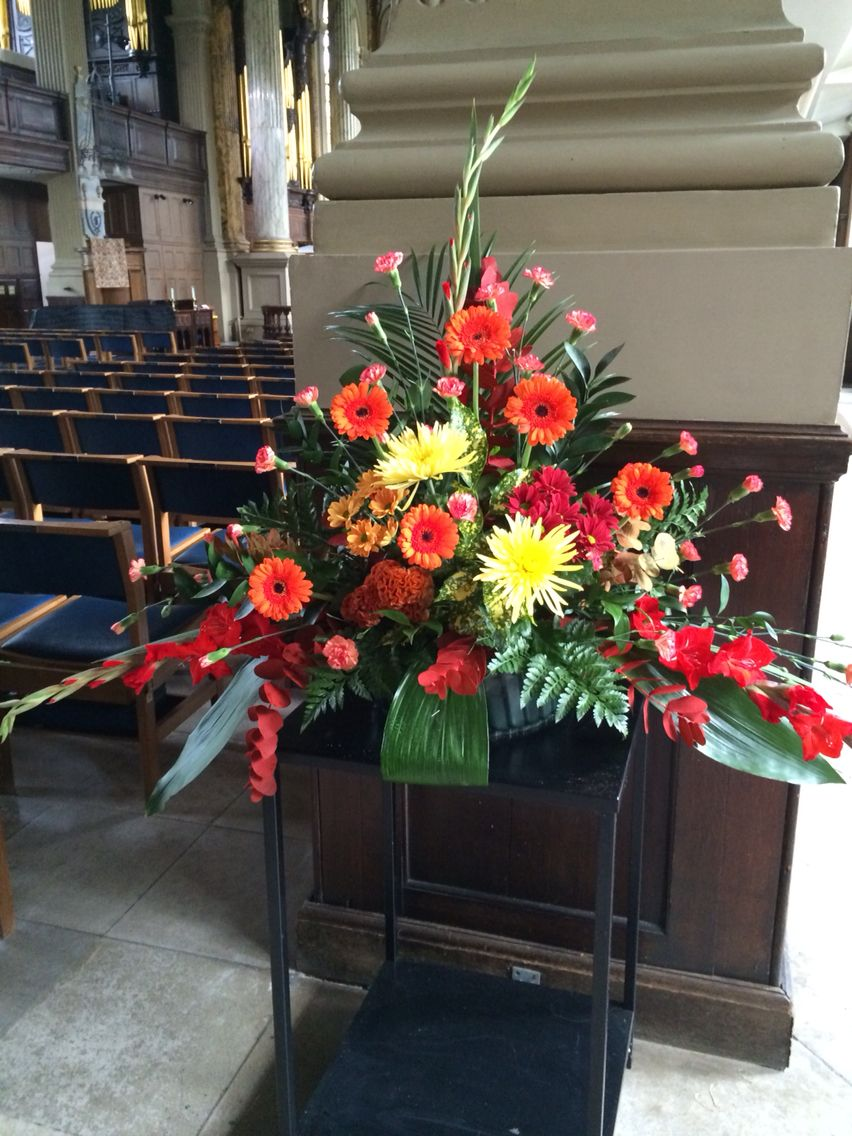 Autumn Church Pedestal Arrangement At St Phillips Cathedral By The Flower Buds At Beautiful Flower Arrangements Church Flower Arrangements Flower Arrangements