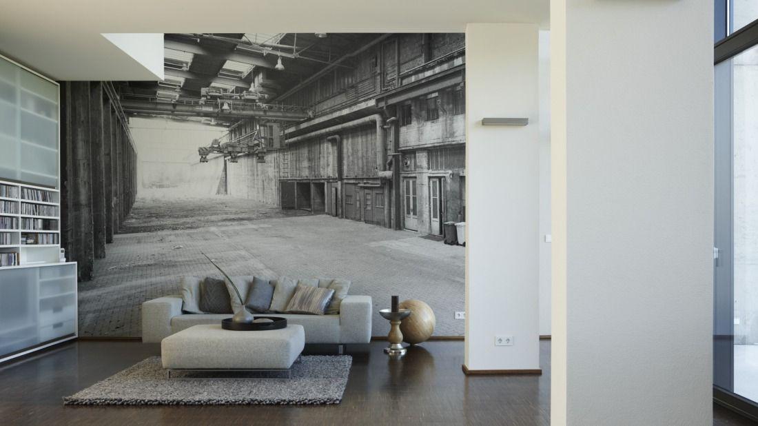 Alte Gewerbe- Betriebshalle Fototapete   Vliestapete AP Digital - wohnzimmer schwarz weis grau