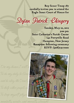 Scouts Honor Khaki Eagle Scout Invitation Eagle Scout Court of