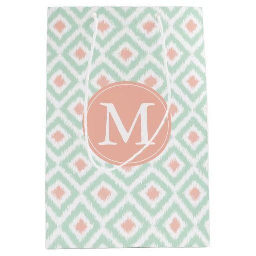 Monogrammed Mint and Coral Diamonds Ikat Pattern Medium Gift Bag