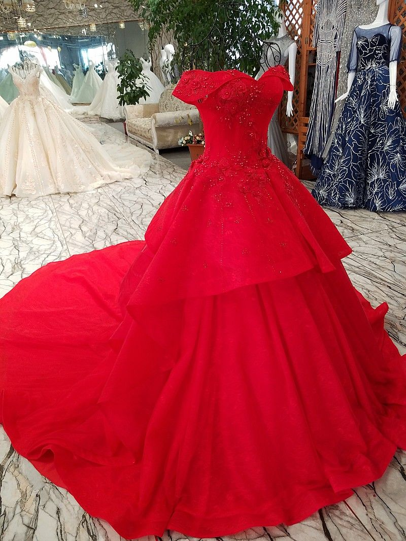 Gorgeous red bridal ball wedding gown boat neck pregnant beading