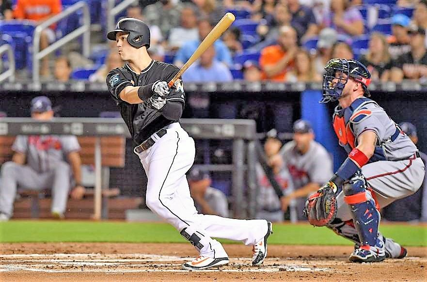 Double up Brian Anderson of the Marlins doubles for an