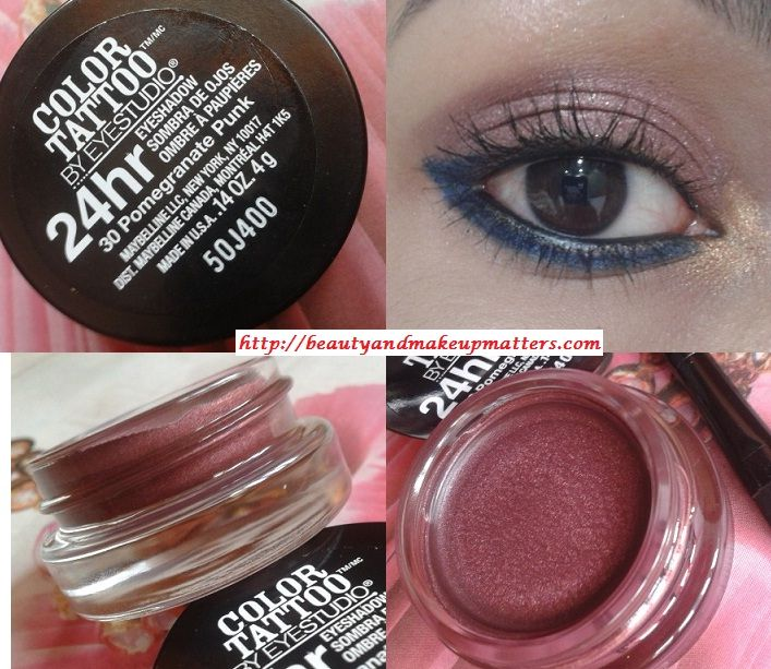 Maybelline Color Tattoo By Eye Studio 24 Hr Eye Shadow Pomegranate Punk 30 Review Swatches Eotd Maybelline Color Tattoo Color Tattoo Eyeshadow Color Tattoo