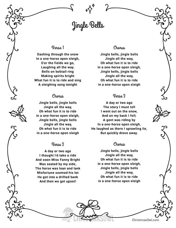 Free printable lyrics for Jingle Bells. Download them at