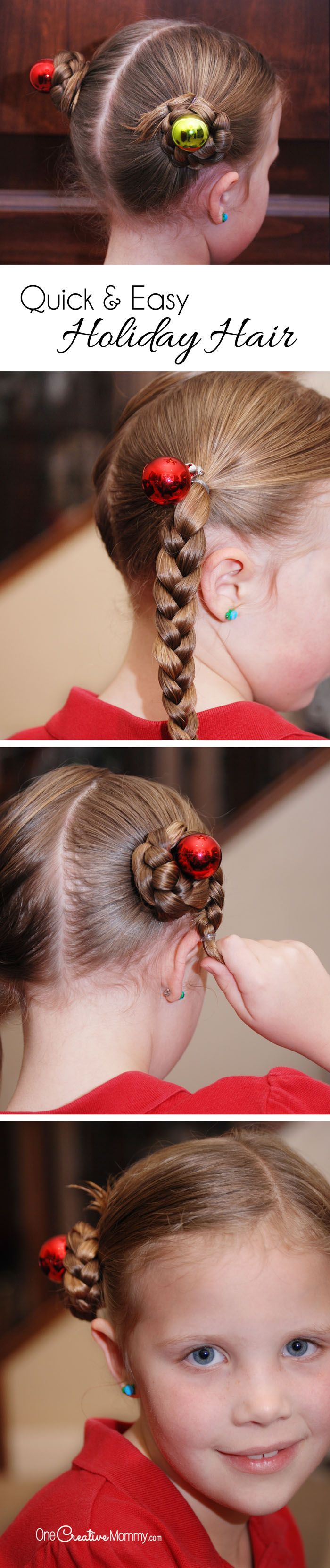 Simple Holiday Hair for Girls #crazyhairdayatschoolforgirlseasy