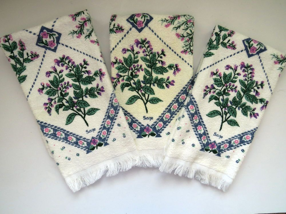 Three Tea Towels By Cannon Terry Cloth Kitchen Towels Herbs Mint