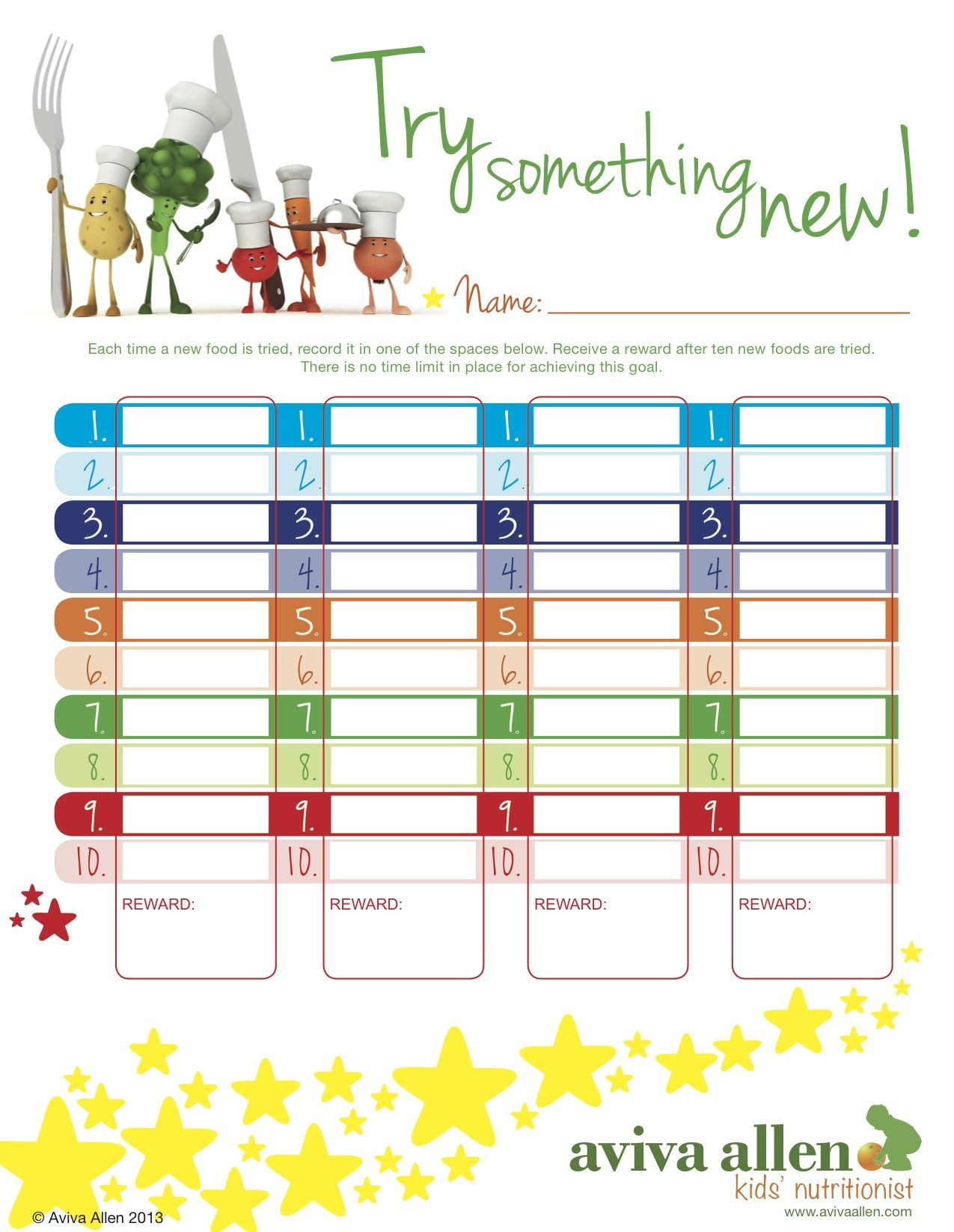 Encourage Your Kids To Try New Foods With Colourful Reward Chart