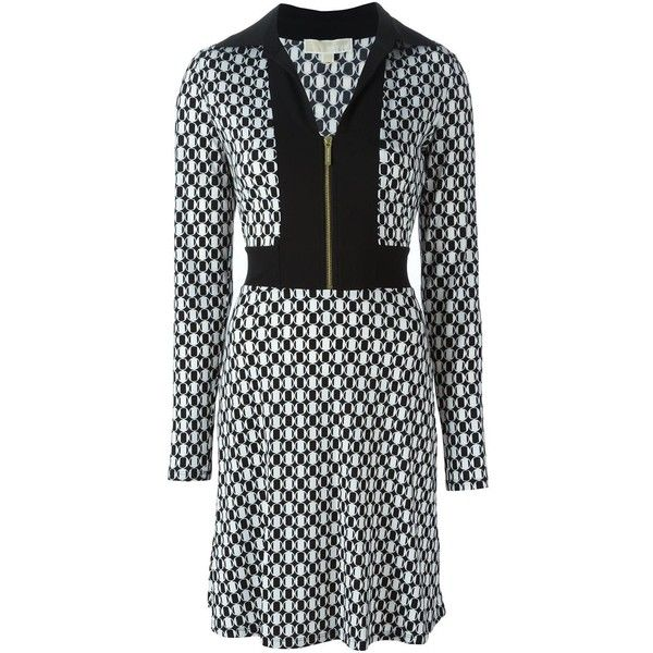 Michael Michael Kors Longsleeved Printed Dress ($190) ❤ liked on Polyvore featuring dresses, white, michael michael kors dresses, michael michael kors, kohl dresses, longsleeve dress and long sleeve black dress