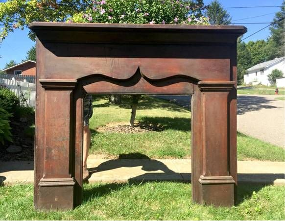 1800's Antique Solid Wood Scalloped Fireplace Mantel Surround ...