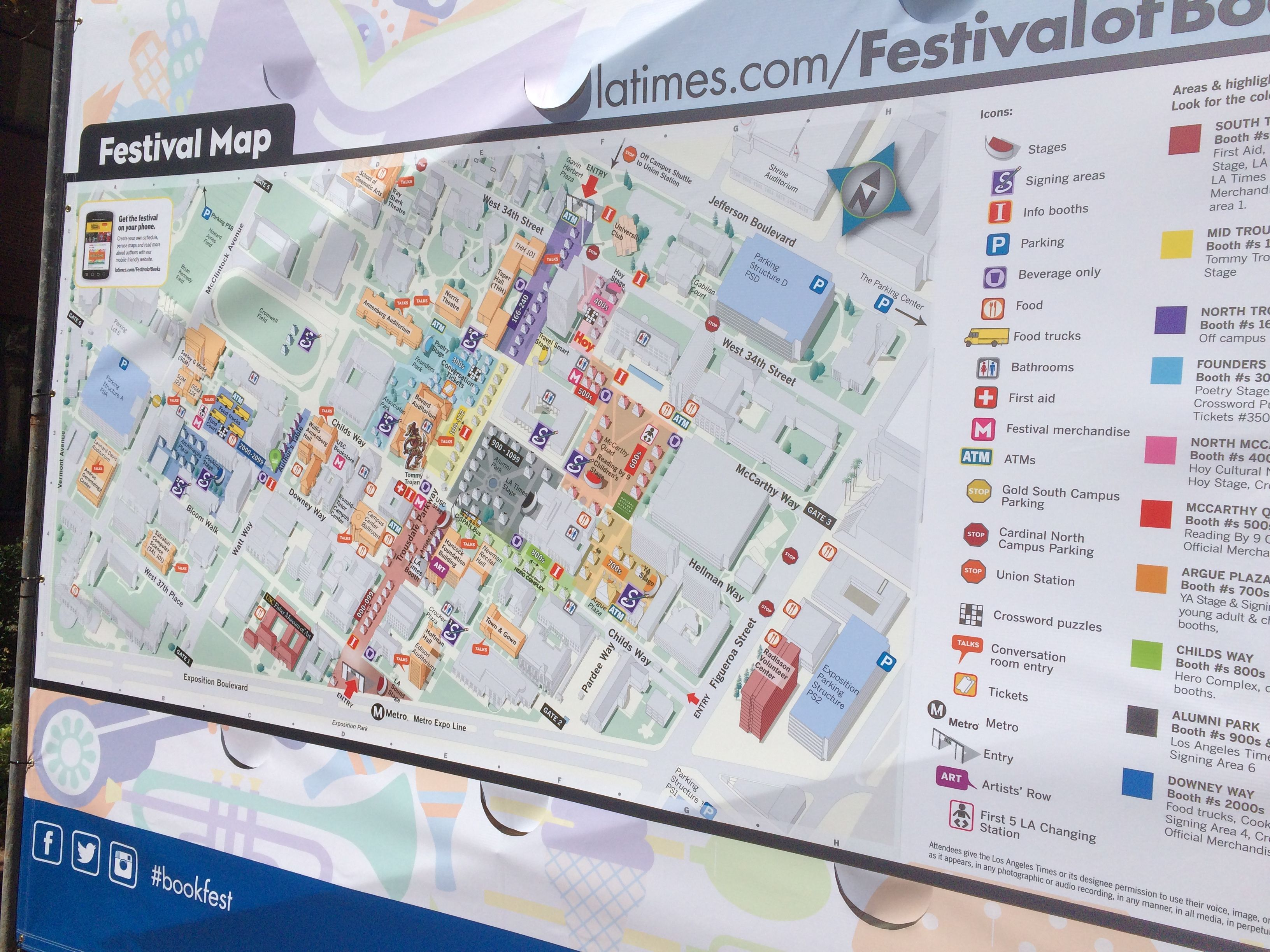 The Map Of The Event At The LA Times Festival Of Books At USC - Map of usc sunshine coast