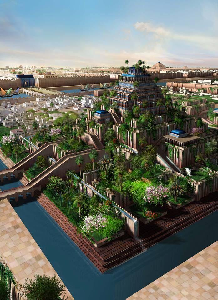 A Bird S Eye View Of The Hanging Gardens Of Babylon By Alexander Jubran In 2020 Fantasielandschaft Anime Landschaft Antike Architektur