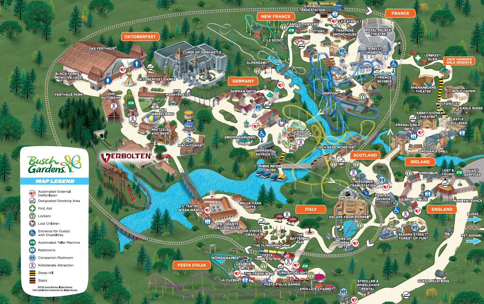 Park Map Busch Gardens Williamsburg Vintage Pinterest Gardens Virginia And Amusement Parks