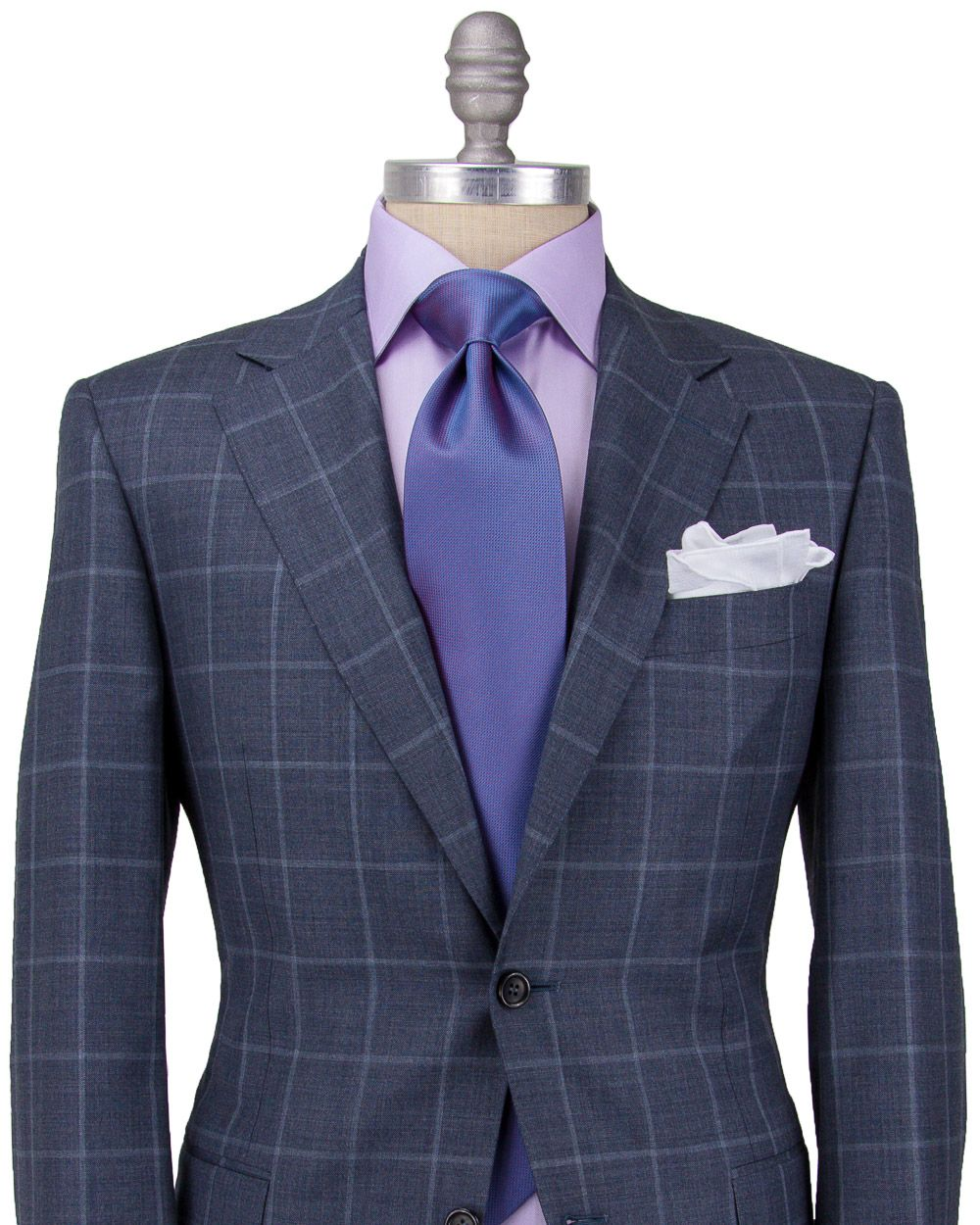 Canali grey windowpane suit apparel men 39 s Blue suit shirt tie combinations