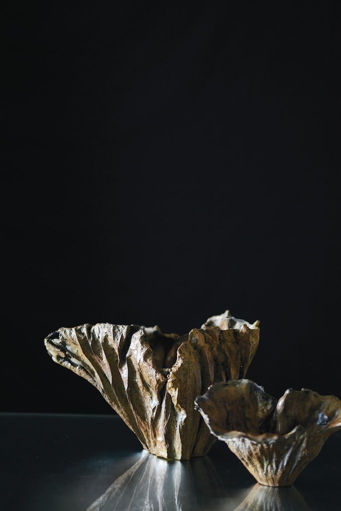 Lost Leaf Vessels by Alexander Lamont cast from bronze.
