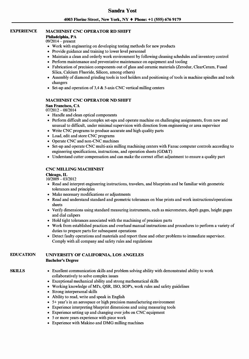 Cnc Machine Operator Resume Awesome Machinist Cnc Resume Samples Resume Template Resume Job Resume Samples