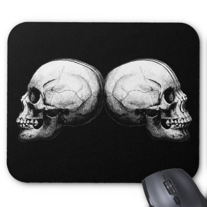 Profile Skull Black and White Mouse Pad - black gifts unique cool diy customize personalize