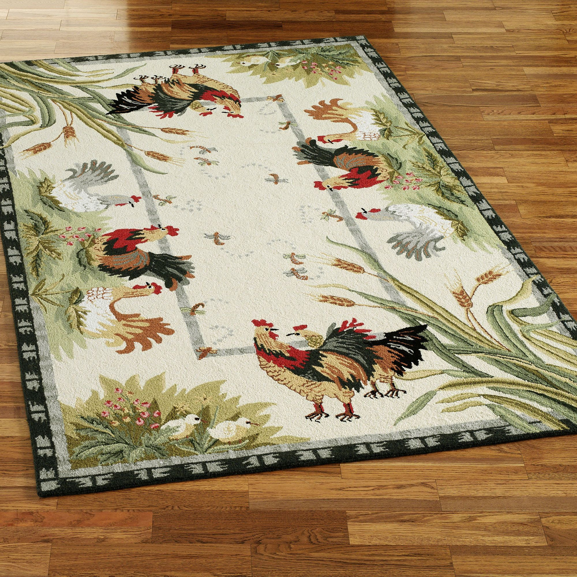 Rooster and Hens Area Rugs | Rooster kitchen decor, Rugs ...