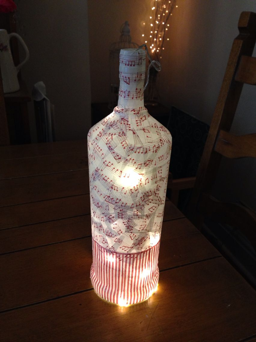 Music notes decoupage bottle with fairy lights 7 x