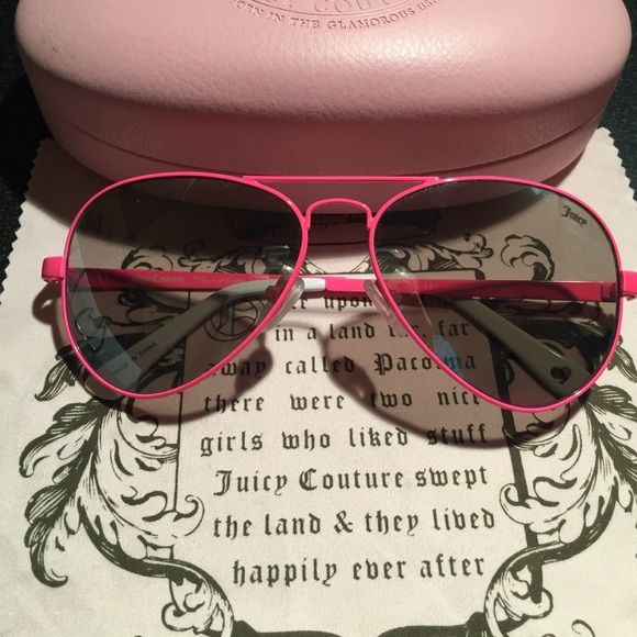 18df835058  NEW  Juicy Couture Hot Pink Aviators Juicy Couture Hot pink aviators  sunglasses. New without tags . Never worn . Just sat on my cabinet.