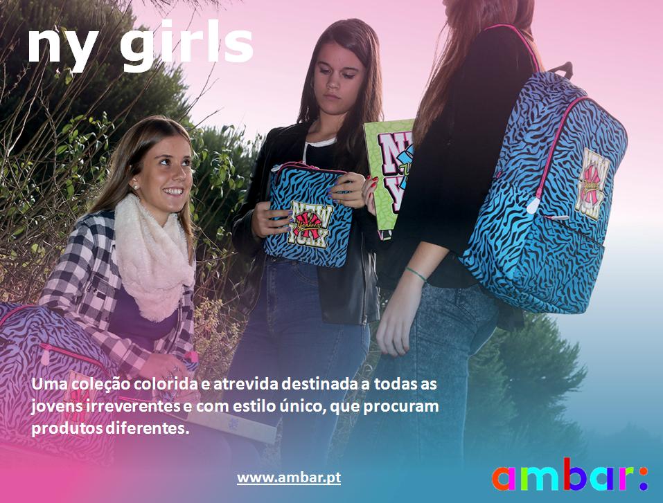 Linha New York Girls da ambar: colorida, atrevida e irreverente! #ambarideiasnopapel #regressoasaulas #mochilas #a: