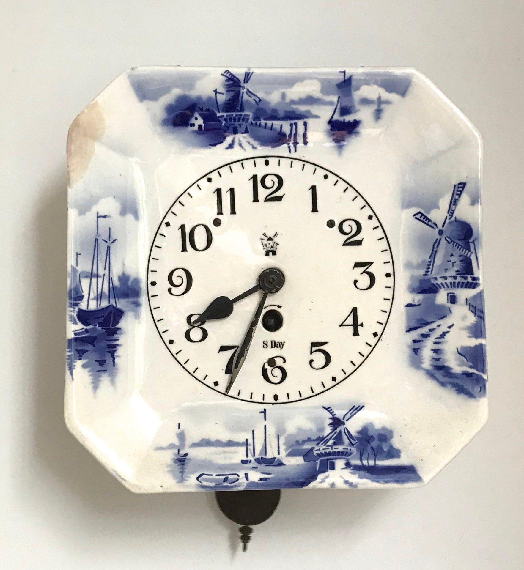 8 Day Wall Clock Ceramic Wall Clock Delft Wall Clock Dutch Motive Porcelain Wall Clock Octagonal Wall Clock By Vintag Clock Vintage Clock Wall Clock