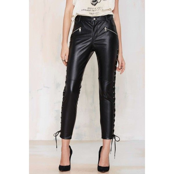 Nasty Gal Pedal to the Metal Leather Leggings ($26) ❤ liked on Polyvore featuring pants, leggings, leather lace up leggings, leather pants, zipper pants, leather leggings and leather zipper leggings