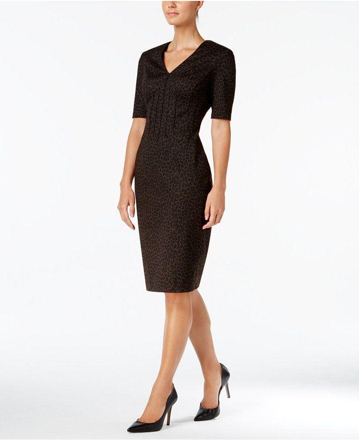 3f9fe2ec33b0 Calvin Klein Animal-Print Ponte-Knit Dress