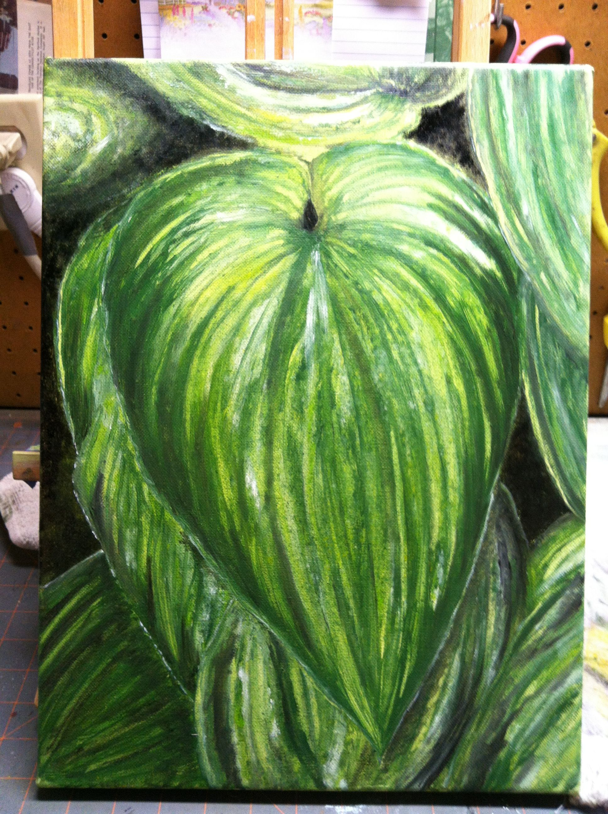 Funkie Giftig Hosta Painting 2014 My Style Green Plants Plant Leaves Plants