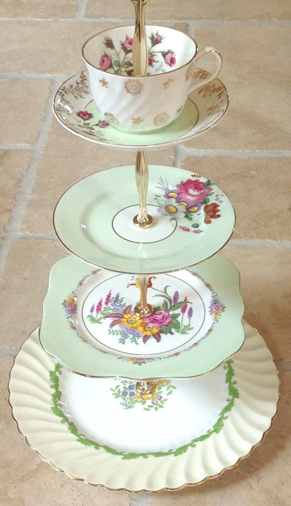 4 tier cake stand mint green vintage china centerpiece jewelry display tid bit tray cup cakes. Black Bedroom Furniture Sets. Home Design Ideas