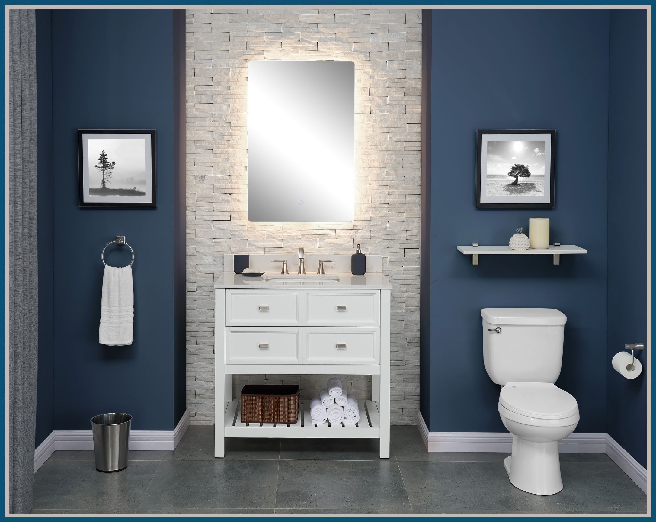 Allen Roth Canterbury 36 In White Single Sink Bathroom Vanity With Carrara Engineered Stone Top Lowes Com Single Sink Bathroom Vanity Led Mirror Bathroom Bathroom Sink Vanity