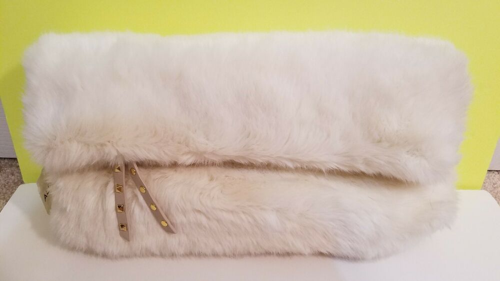Aldo Cream Fluffy Soft Faux Fur Clutch Bag Handbag With Strap