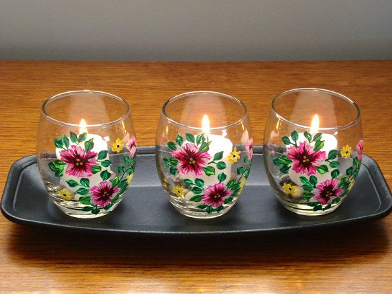 Flowered Candle Holders With Wooden Tray by ipaintitpretty on Etsy, $25.00 #uniquegifts #candleholders #handpaintedgifts