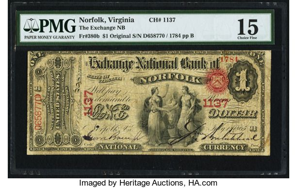 National Bank Notes Virginia Norfolk Va 1 Original Fr
