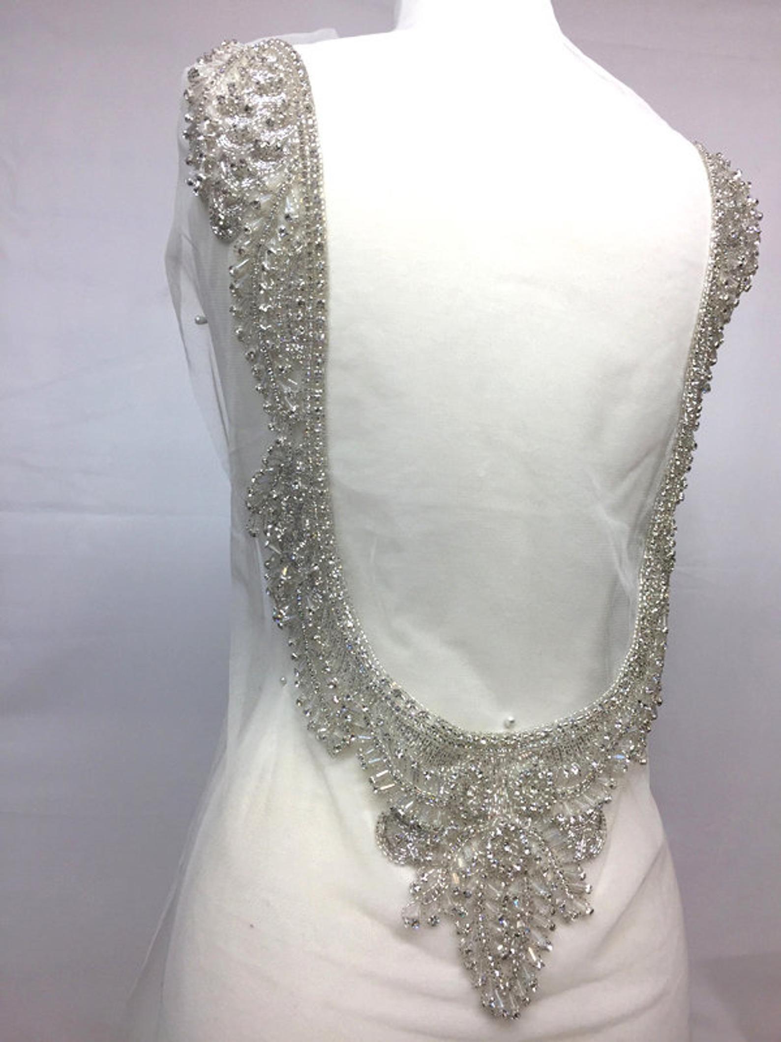 Silver # 82104 Prom,Dress Fabric Fabric,Evening,Wedding Rhinestone Beaded Applique