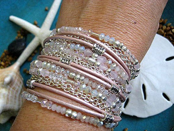 Boho Chic Endless Leather, Crystals, and Chain 3x Wrap Beaded Bracelet...Pretty Pink Elegance on Etsy, $42.00