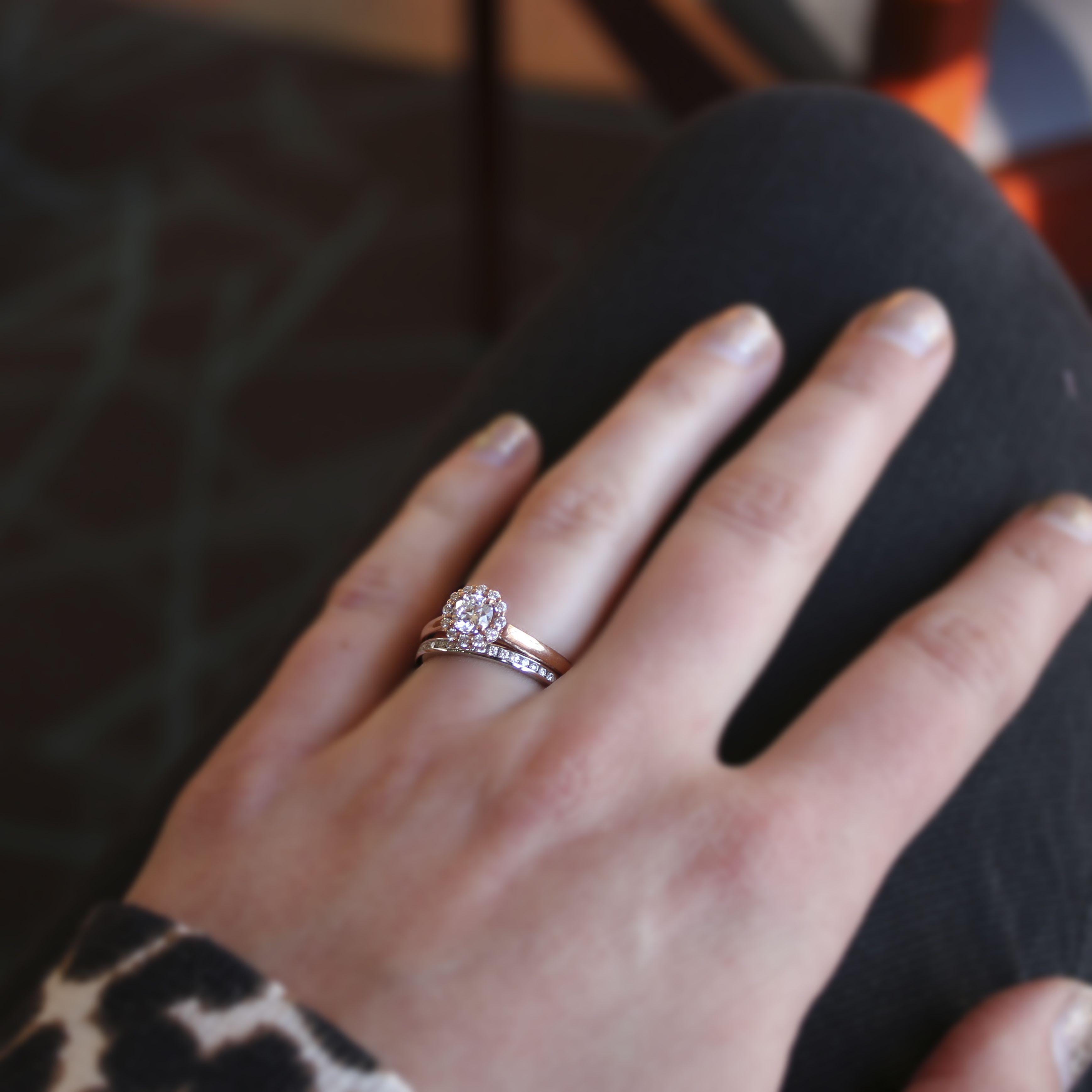 Rose Gold Engagement Ring White Gold Wedding Band Mix Match Wedding Rings R Black Wedding Rings Kay Jewelers Engagement Rings Double Band Wedding Ring