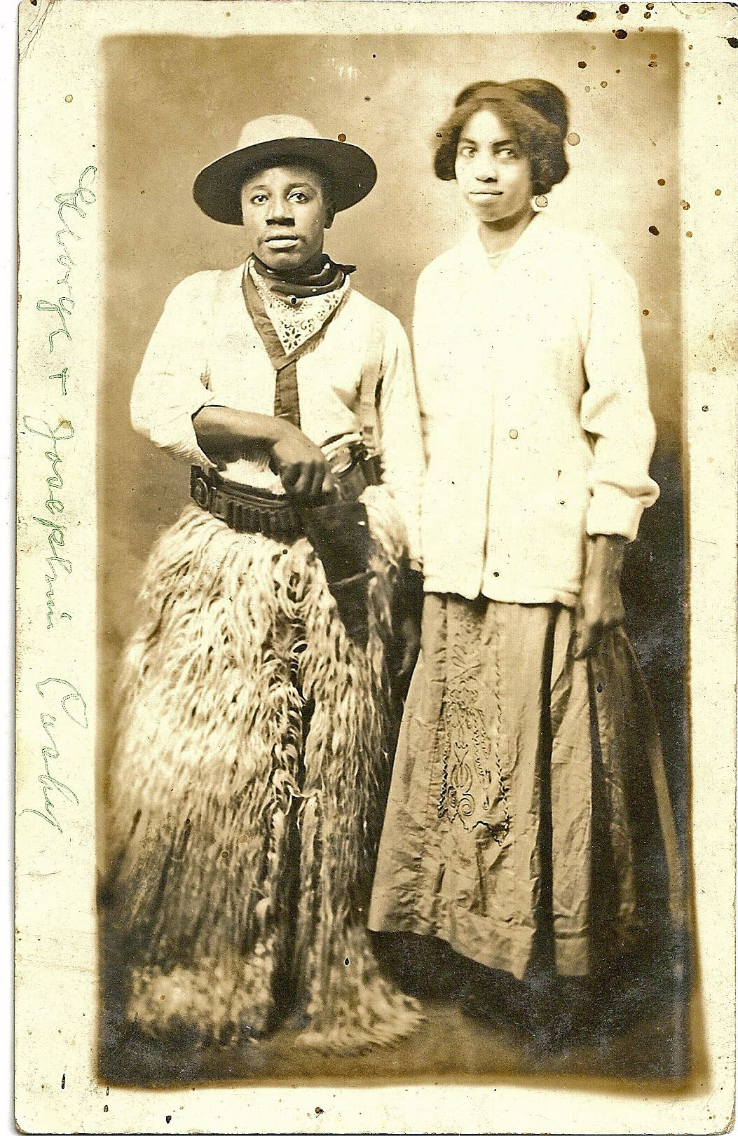 African American Cowboy And Companion Early S
