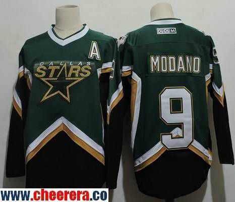 mens dallas stars 9 mike modano 2005 green ccm throwback stitched vintage hockey jersey