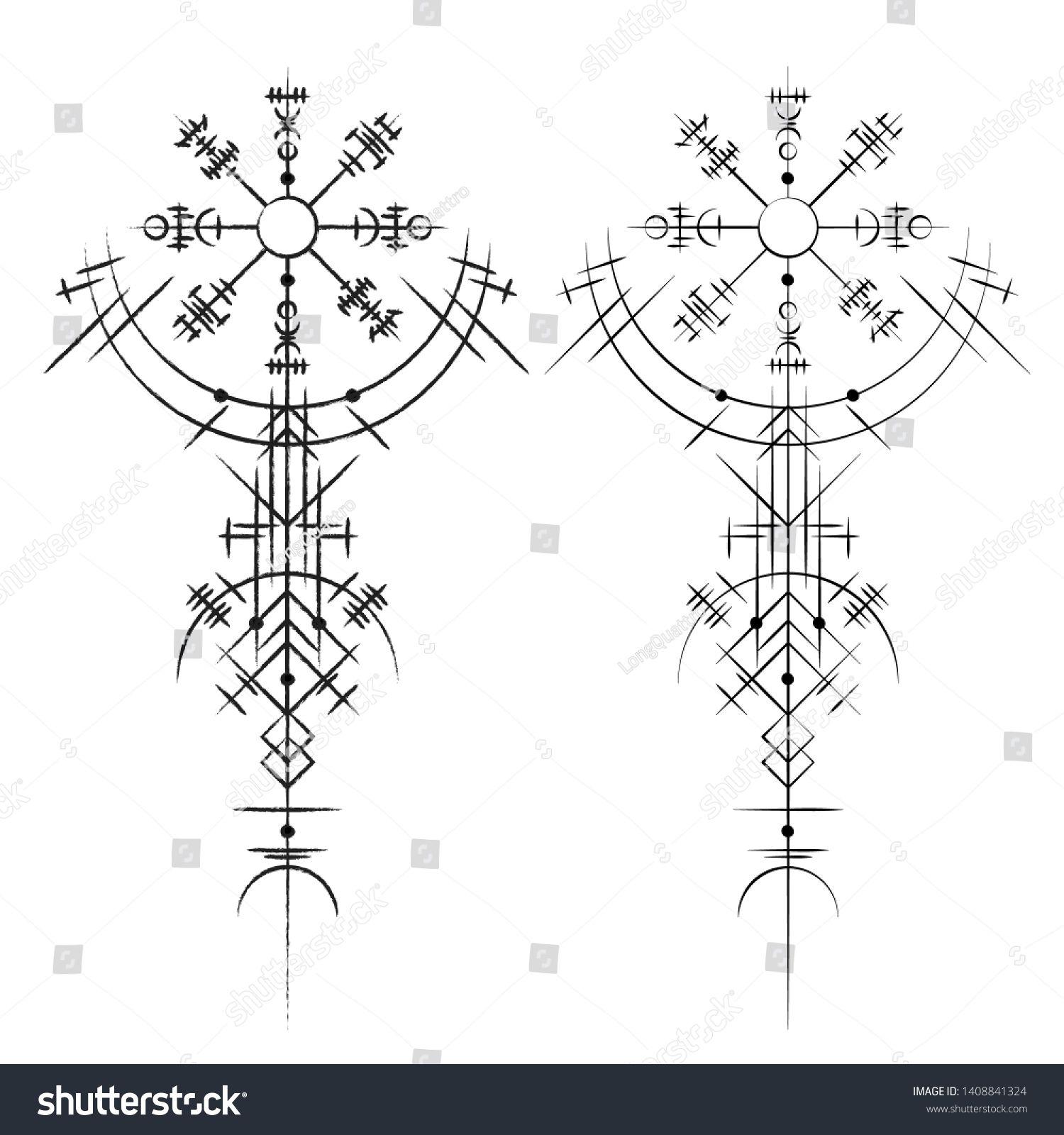 Black Abstract Viking Magic Symbols Isolated Stock Vector (Royalty Free) 1408841324