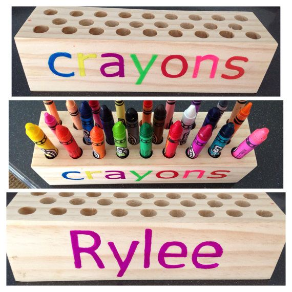 personalized wooden crayon holder family pinterest crayon