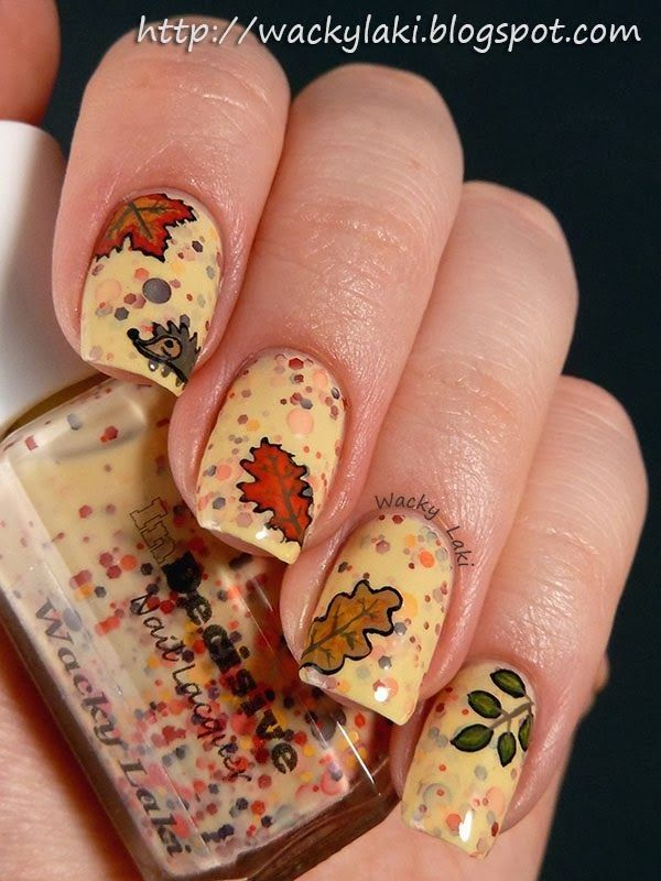 2014 Fall Leaves Mixed Nails Polish Art Design - Thanksgiving ...