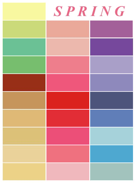Spring color palette inspiration for outfits and home decor