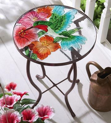 Hummingbird Amp Flower Glass Top Accent Table Like In 2019