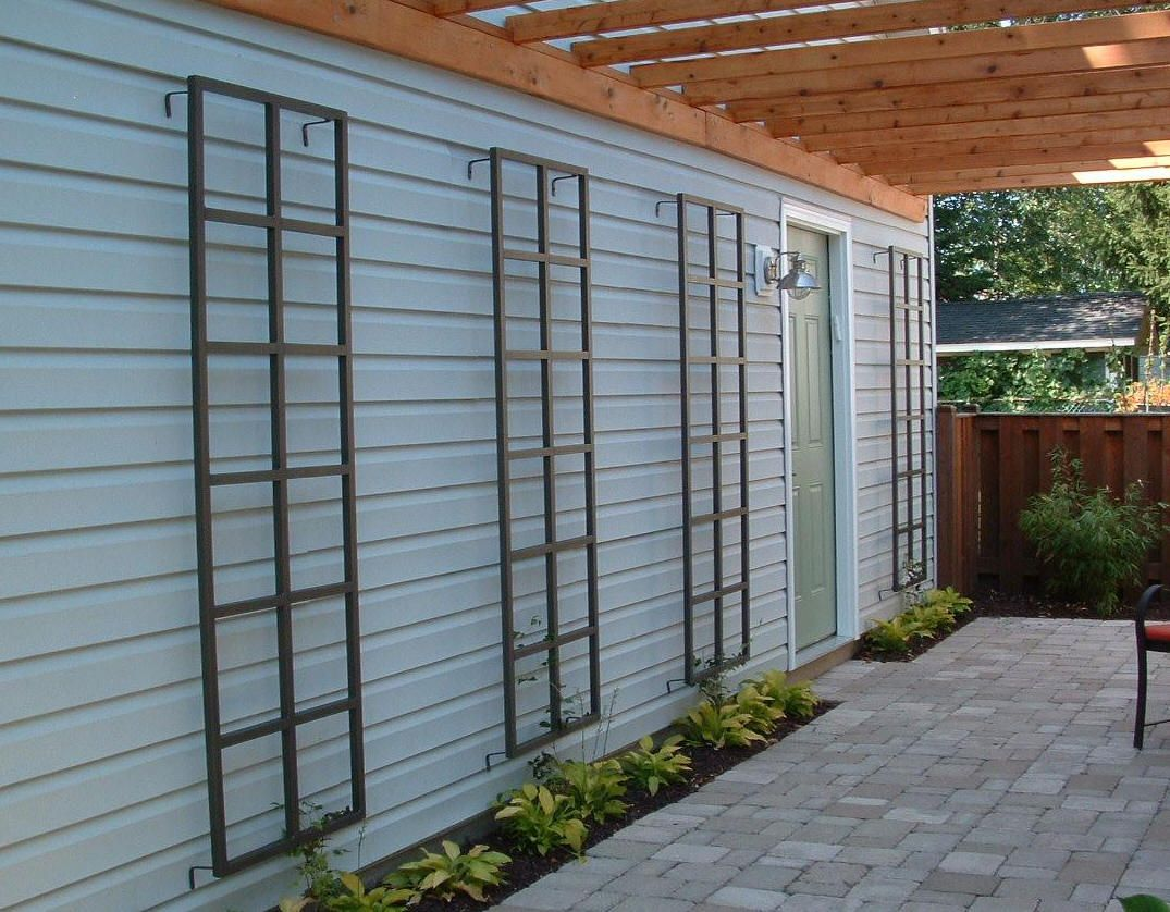 Custom aluminum wall trellis house for Wall trellis ideas